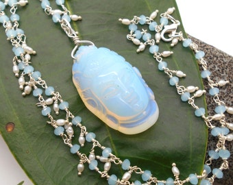 Aquamarine and Pearl Kwan Yin Necklace - Prayer beads, meditation, yoga jewelry, ohm, breathe, namaste, Buddhist, boho, spiritual