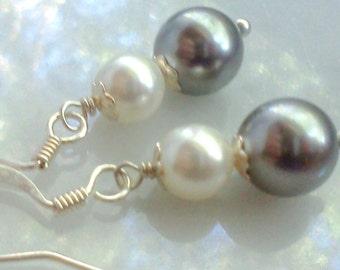 Gray Pearl Earrings, Swarovski Pearl Earrings, 8MM Pearl Earrings, Swarovski Crystals, Crystal Pearls, Gray and White, Pearl Dangles, Pearls