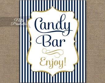 Candy Bar Sign - Navy Blue Candy Buffet - Navy White Printable Candy Bar Table Sign - Wedding Signs - Blue Baby Bridal Shower Candy Sign NGG