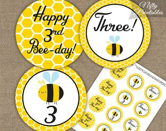 Bee 3rd Birthday Cupcake Toppers - Printable Bumble Bee 3rd Birthday Toppers  - Three Year Old Bumble Bee Party Decorations - BEE