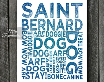 Saint Bernard Print - INSTANT DOWNLOAD Saint Bernard Art - Typography St Bernard Poster - Saint Bernard Gifts - Blue St Bernard Wall Art
