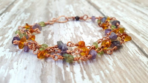 Amethyst, Baltic Amber and Peridot Bracelet /Mixed Gemstone Bracelet / Copper Wire Wrapped Bracelet / Multi Strand Gemstone Bracelet