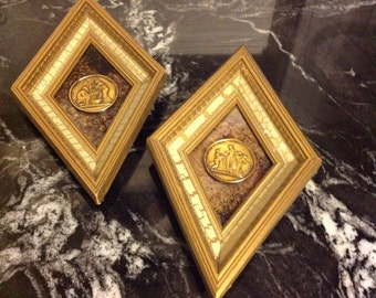 Two Grecian Wall Plaques, Diamond Shaped, Gold frames