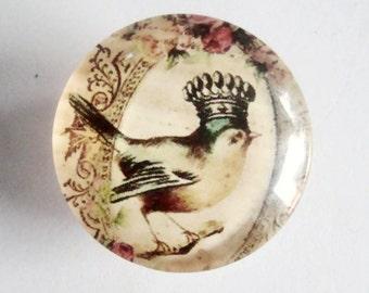 Bird Crown  Glass 25 mm Cabochon