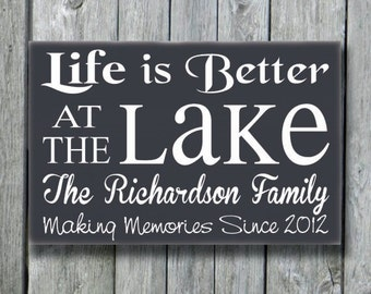 Lake House Decor, Personalized Lake Sign, Life Is Better At The Lake Family Last Name Wood Plaque, Lakeside Living, River Cabin Cottage Gift