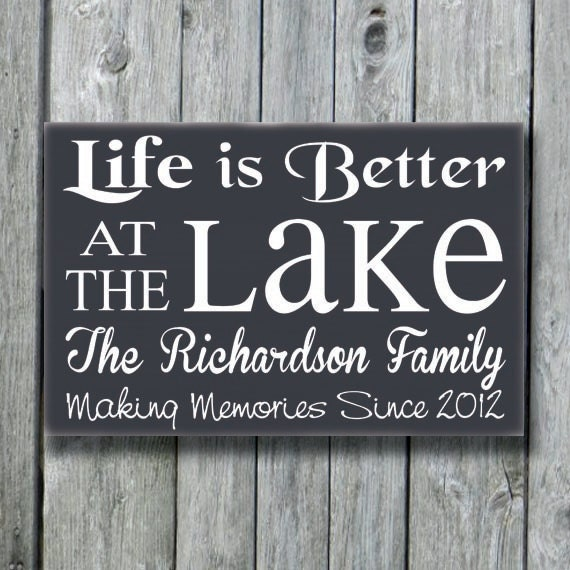 Lake House Decor Personalized Lake Sign Life Is Better At