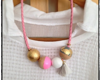 wooden bead necklace hand painted - bright and pastel colors with golden foil