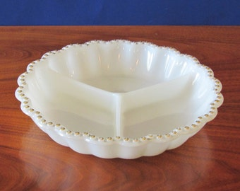 Milk Glass Gold Dot Trim Dish ~ Divided Serving Plate ~ Mid Century Modern Décor ~ Jewelry Organizer ~ Condiment Server