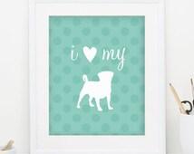 Pug Printable Print Dog Art Pug Wall Art Pet Print Pet Wall Art Print Dog Lover Gift Wall Art Print Teal Bedroom Decor INSTANT DOWNLOAD 0059