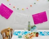 """Mexican Paper Bunting For Weddings and Fiestas - Handcut """"Papel Picado"""" - Hot Pink & White"""