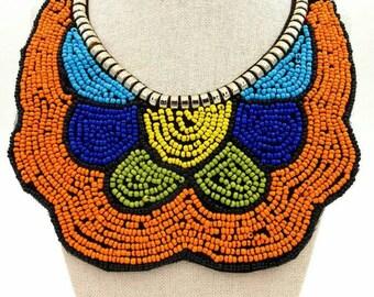 10% off Use discount code DISCOUNT10  - Orange Handmade Beaded Boho Necklace