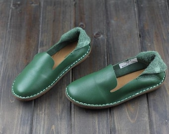Handmade Green Shoes for Women,Oxford Shoes, Flat Shoes, Retro Leather Shoes, Casual Shoes