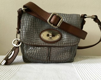 Fossil Gray Leather with Brown Leather Trim Crossbody Shoulder Bag Purse