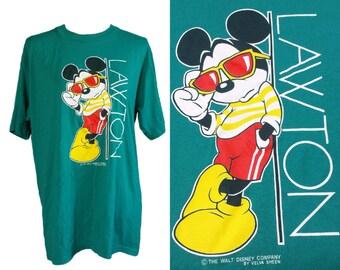 Vintage Mickey Mouse T-Shirt, Walt Disney, 80s Graphics Tshirts, Velva Sheen, Adult XL, 90s Tee, Extra Large, Retro Burnout T Shirts, Teal