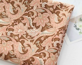 Cotton Fabric Paisley Brown By The Yard