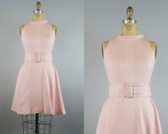 Pink Blush Dress / Vintage 1960s Dress / 60s Mod Dress