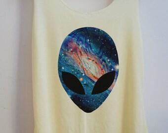 CLEARANCE Galaxy alien Vintage Tank top Pop Punk Rock Tank Top Vest Women Movie T shirt lady T-Shirt Size S,M,L-