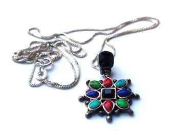 Multi-Stone Pendant Necklace - Onyx, Turquoise, and Enamel - Vintage 1990's