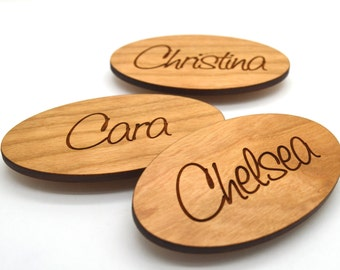 Oval Wooden Name Tags - Laser engraved , with magnetic holder