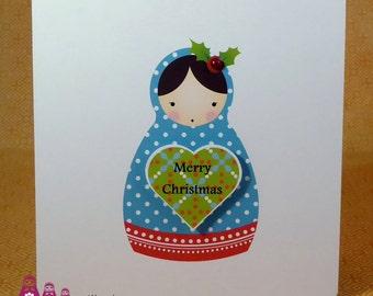Babushka doll Merry Christmas card