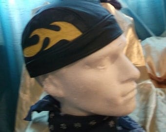 Vintage Leather SKULL-CAP/BANDANA, BLack with white flame design