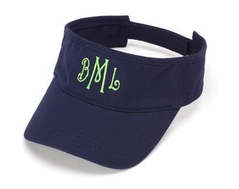 Navy Visor Hat with Monogram