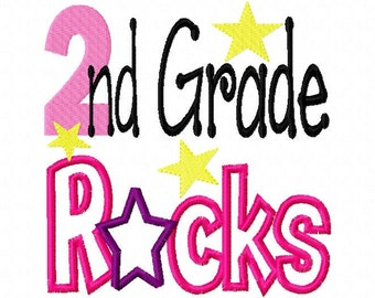 Second 2 Grade two Rocks  Applique Machine Embroidery Design 4x4 and 5x7