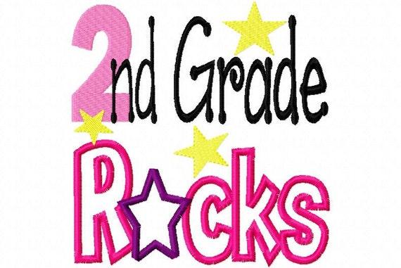 Second 2 Grade two Rocks  Applique Machine Embroidery Design 4x4 and 5x7
