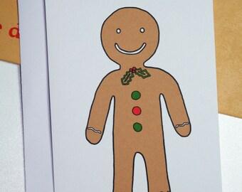Christmas Gingerbread Man Illustration A6 Card