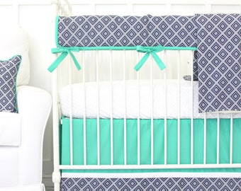 25% OFF SALE- Gavin's Navy Geometric Bumperless Crib Bedding | 2 or 3 Piece Set