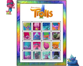 Trolls Movie Birthday Party Bingo Game plus Matching Game  - 30 BINGO Cards  -  INSTANT DOWNLOAD