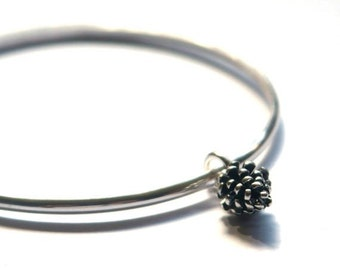 Sterling silver bangle - Pinecone bangle bracelet - Pinecone Jewellery - Charm bangle - Autumnal Jewellery