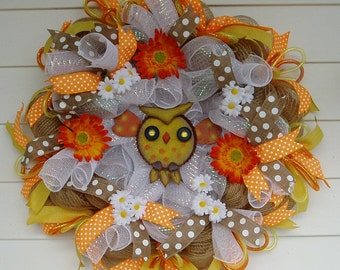 Owl Wreath, Fall Wreath, Burlap Wreath, Deco Mesh Wreath