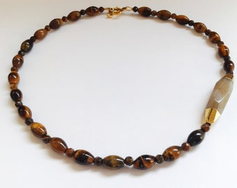 Tiger eye necklace, brown necklace, stone necklace, Botswana agate necklace, handmade necklace, brown necklace, agate necklace, gift idea