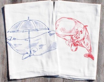 Kitchen Tea Towel Set of 2 - Screen Printed Organic Cotton - Whimsical Whale Design