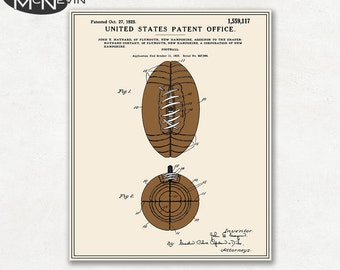 FOOTBALL Patent, Vintage Fine Art Print Poster, Colour, Blueprint, or Black and White