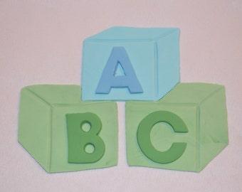 Fondant ABC Blocks cake topper, fondant abc blocks, fondant baby shower topper