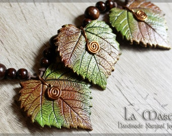 Three Lime Leaves Necklace - Handmade Natural Fantasy