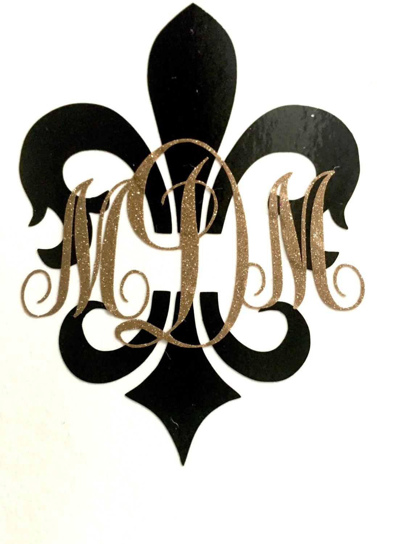 fleur de lis mardi gras monogram glitter initial monogram