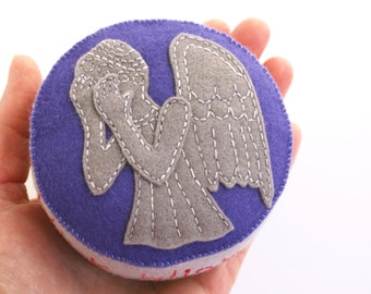 "Wool felt pincushion with a Dr. Who ""Weeping Angel""  Don't Blink!"