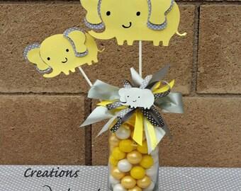 Elephant centerpieces stick/ Elephant theme/ Elephant Baby shower/ Yellow and gray elephant/ Elephant shapes