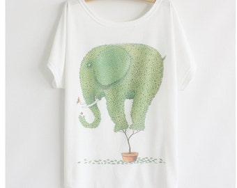 The plant in elephant shape screen print tee