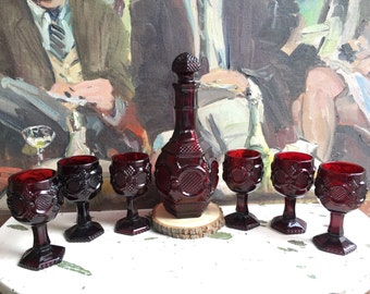 1970's Ruby Red Pressed Glass Avon Decanter Set