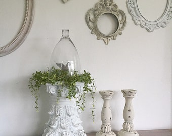 White Ornate Pedestal Architectural Table Centerpiece FRENCH PROVINCIAL Shabby Chic