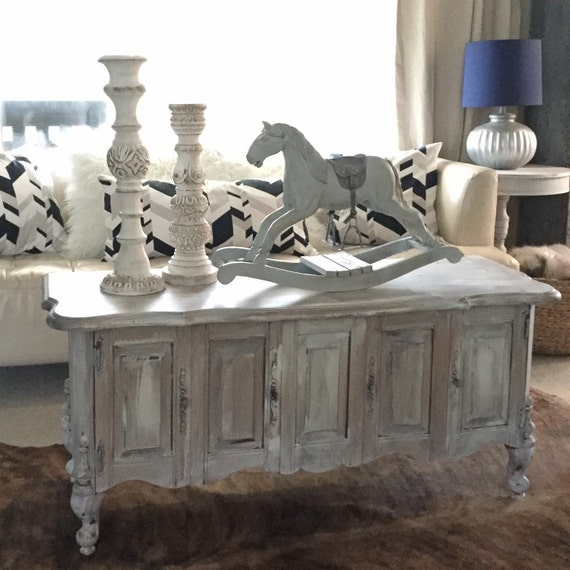 French Linen Chalk Paint Coffee Table: White Chalk Paint Coffee Table Rustic Furniture TV Stand Farm