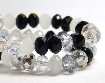 Black and White Bead Mix, Crystal Rondelles, Multi-Color Crystal Beads, White Crystals, Black Crystals, Winter Solstice Mixed Beads D-C37