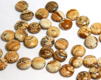 Picture Jasper, 10mm Flat Circle, Picture Jasper Flat Beads, Flat Round Beads, Jasper Beads, Gemstone Beads, Brown Beads, Earthy Beads, D-L4