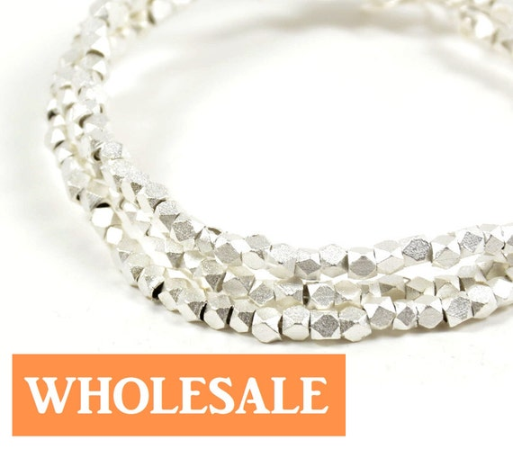 WHOLESALE 2.5mm Faceted spacer, metal spacer bead, matte brushed silver spacer - 190+ PCS per strand