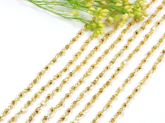 5 FT - 2.5mm Gold Rosary Chain with Faceted Bead, Brass Diamond Cut Metal Bead Rosary Chain - 5FT/ order