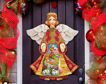 Christmas Angel, Wooden Decorative Nativity Door Hanger, Angel wall decor 8152722H